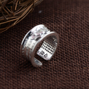 Sterling Silver Engraved Sutra Buddhist Mantra Lotus Ring - Egret Jewellery