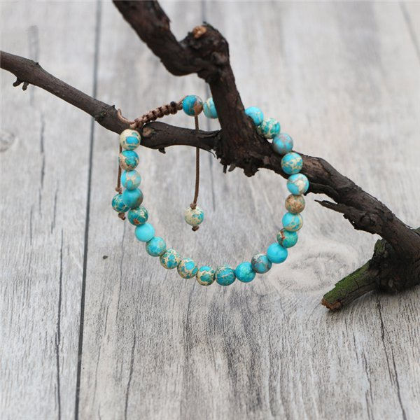 Natural Stone Turquoise Imperial Jasper Beaded Stacking Bracelet