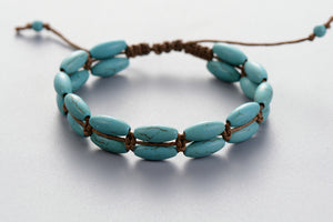 Natural Stone Turquoise Leather Wrap Oblong Stacking Bracelet