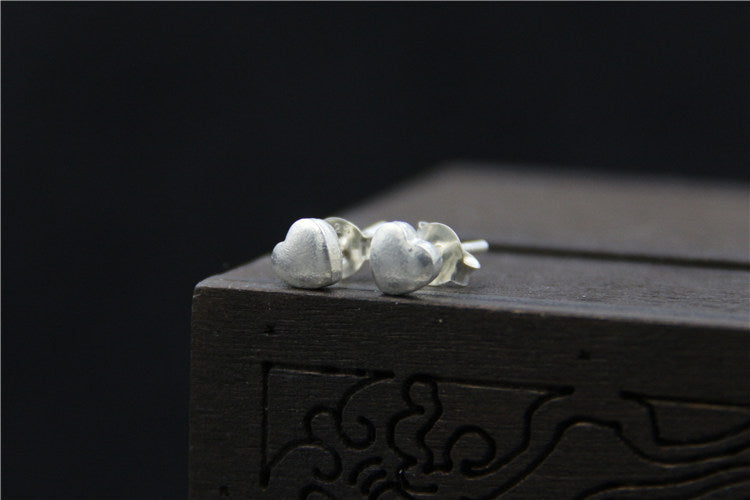 Delicate Small Solid 925 Sterling Silver Heart Stud Earrings - Egret Jewellery