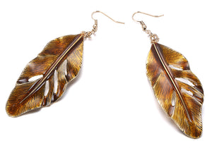 Enamel Etched Brown Leaf Drop Dangle Earrings - Egret Jewellery