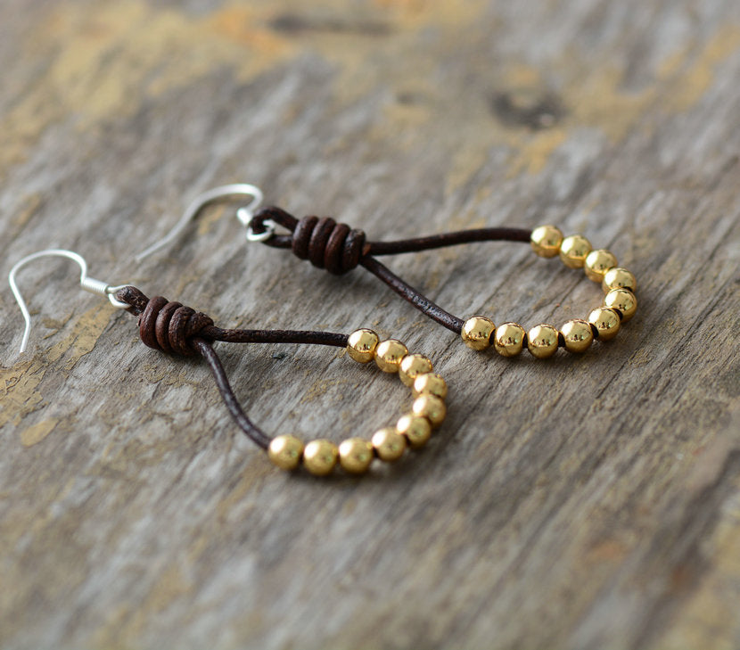 Boho Gold Beaded Brown Leather Rope Drop Earrings