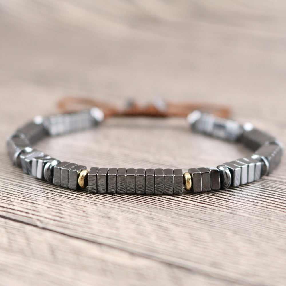 Men's Beaded Hematite Silver Square Stacking Bracelet