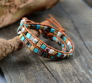 Agate & Turquoise Leather Beaded Friendship Wrap Bracelet