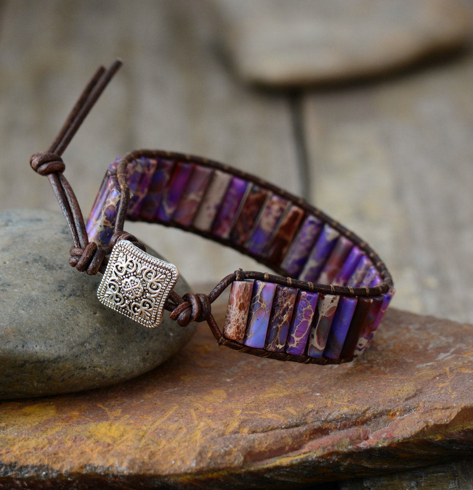 Purple Oblong Impression Jasper Leather Cuff Bracelet