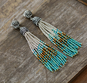 Natural Turquoise Seed Beads Tassel Dangle Earrings - Egret Jewellery