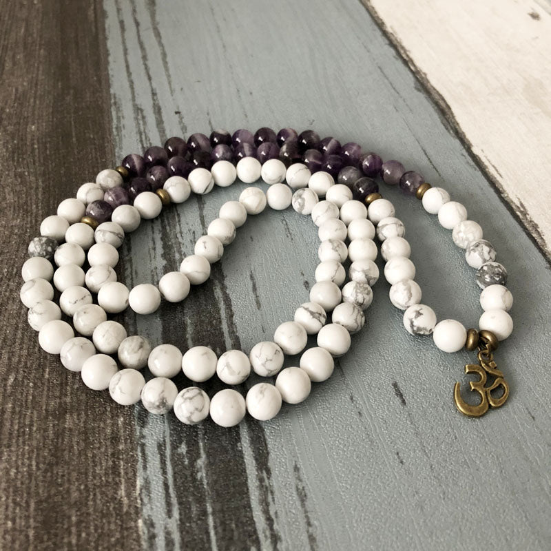 Natural Amethyst & Howlite Beaded Wrap Bracelet Mala Beads OM Necklace - Egret Jewellery