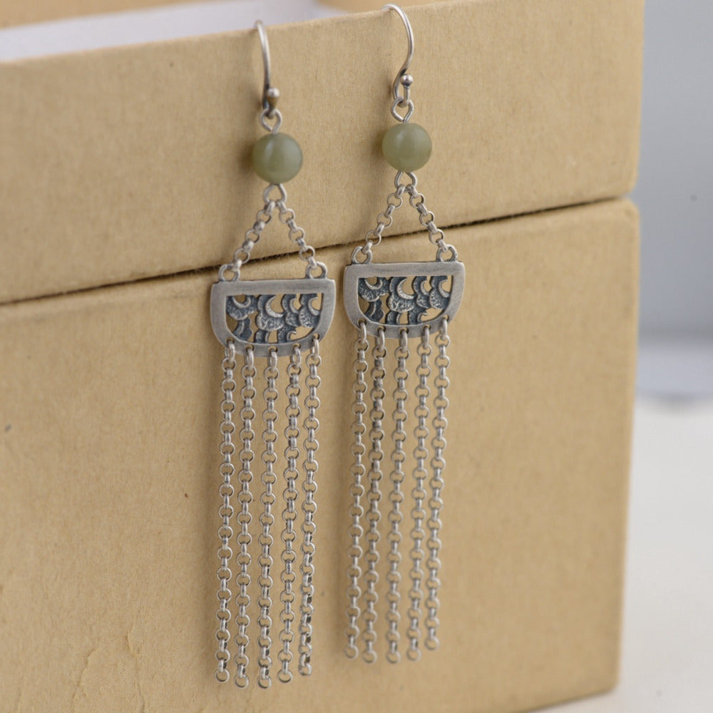 925 Sterling Silver Long Chain Jade Tassel Drop Earrings - Egret Jewellery