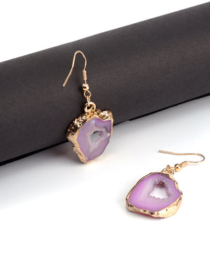 Natural Stone Pink Agate Geode Gold Drop Earrings - Egret Jewellery