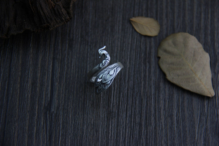925 Sterling Silver Peacock Bird Ring Adjustable Leaf Statement