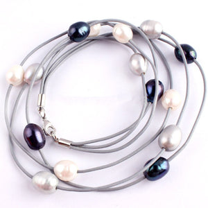 Genuine Freshwater Pearl Leather Layered Choker Beaded Necklace - Egret Jewellery