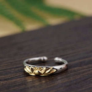925 Sterling Silver Lotus Flower Gold Adjustable Stacking Ring - Egret Jewellery