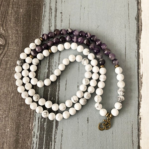Natural Amethyst & Howlite Beaded Wrap Bracelet Mala Beads OM Necklace