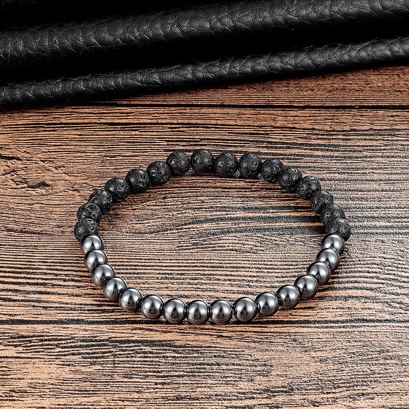 Black Lava Rock & Silver Hematite Beaded Cuff Bracelet | Men's