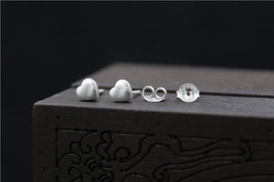 Delicate Small Solid 925 Sterling Silver Heart Stud Earrings