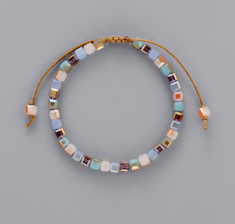 Square Tila Beaded Cord Friendship | Stacking Bracelet