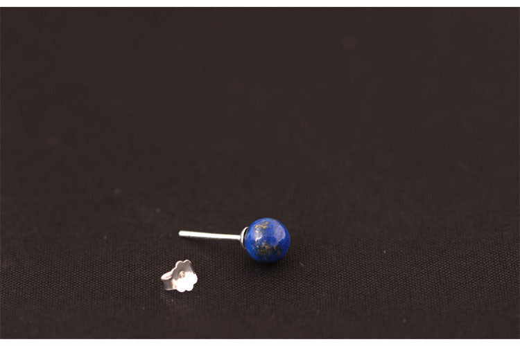 Sterling Silver Natural Blue Lapis Lazuli Round Stud Earrings - Egret Jewellery