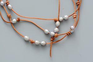Genuine Freshwater Grey Pearl Leather Beaded Necklace - Egret Jewellery