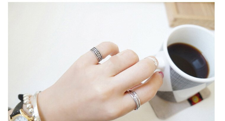 925 Sterling Silver Stacking Layered Adjustable Leaf Ring