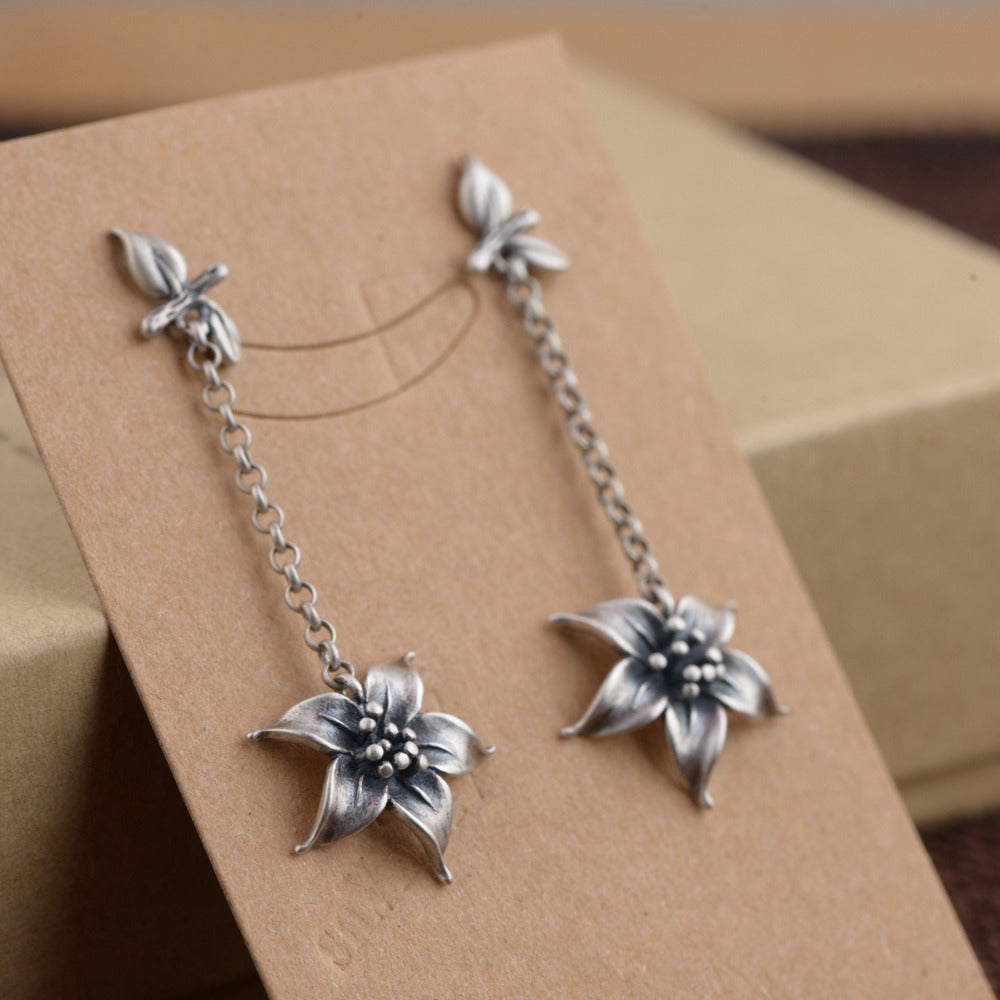 Long 925 Sterling Silver Open Lotus Flower Drop Earrings - Egret Jewellery