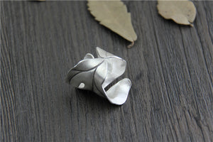 Large Boho Statement Sterling Silver Leaf Ring - Egret Jewellery