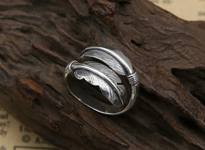 Sterling Silver Adjustable Wrap Feather Ring - Egret Jewellery