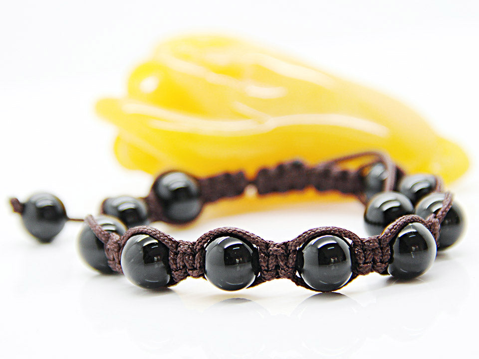 Black Onyx Beaded Shamballa Bracelet Men's | Women's