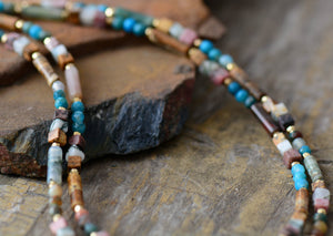 Rough Agate & Jasper Choker Natural Gold Layered Necklace - Egret Jewellery