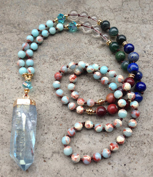 7 Stone Mala Beaded Rough Aura Quartz Necklace