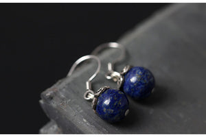 Sterling Silver Natural Blue Lapis Lazuli Round Dangle Earrings - Egret Jewellery