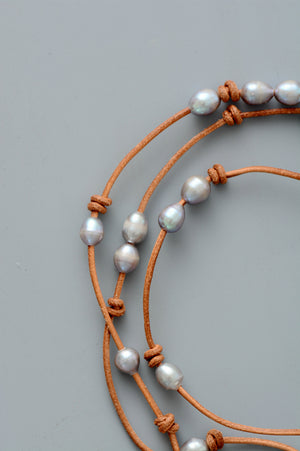 Genuine Freshwater Grey Pearl Leather Beaded Necklace