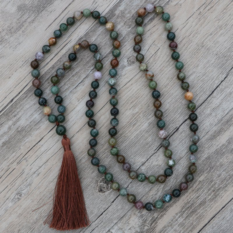 Long Boho Mala Gemstone Beaded Green Moss Agate Tassel Necklace - Egret Jewellery