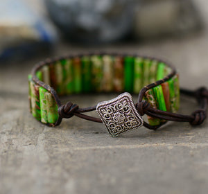 Natural Beaded Oblong Green Impression Jasper Wrap | Cuff Leather Bracelet - Egret Jewellery