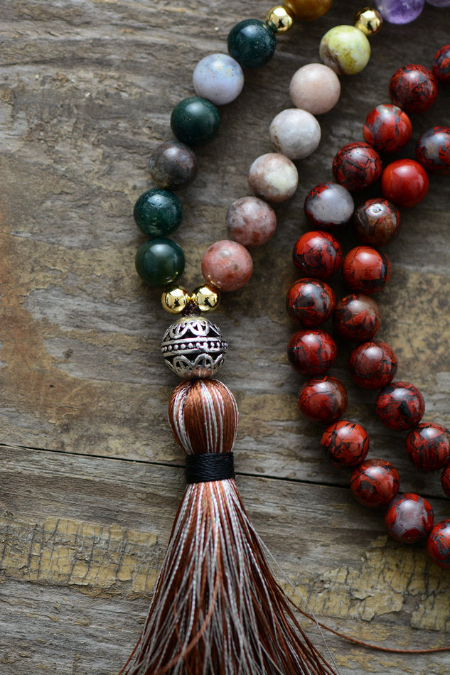 Gemstone Chakra Jade & Jasper Boho Mala Beaded Tassel Necklace
