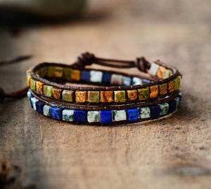 Jasper, Lapis Lazuli & Howlite Leather Beaded Wrap Bracelet