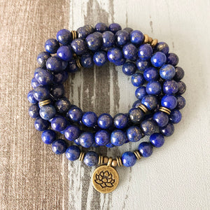 Lapis Lazuli Beaded Wrap Bracelet, Mala Beads Lotus Necklace