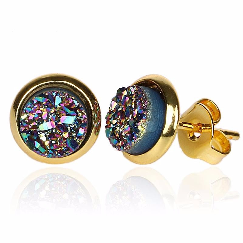 Gold Boho Round Peacock Navy Blue Druzy Stud Earrings