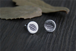 Boho Sterling Silver Leaf Stud Earrings - Egret Jewellery