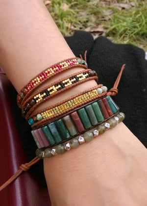 Leather, Agate & Jasper Square Beaded Wrap Bracelet