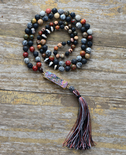 Natural Onyx & Lava Rock Druzy Geode Mala Beaded Tassel Necklace