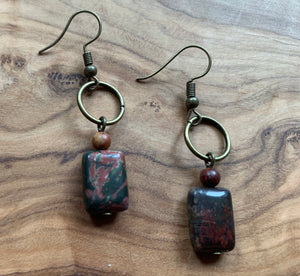 Natural Boho Square Bronze, Jasper Stone Drop Earrings