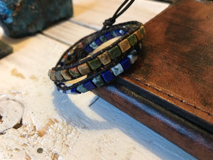 Jasper, Lapis Lazuli & Howlite Leather Beaded Wrap Bracelet - Egret Jewellery