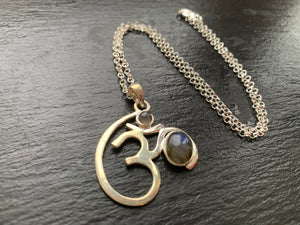 "Sterling Silver Labradorite Large OM Necklace | Pendant Blue Statement 24"" Chain - Egret Jewellery"