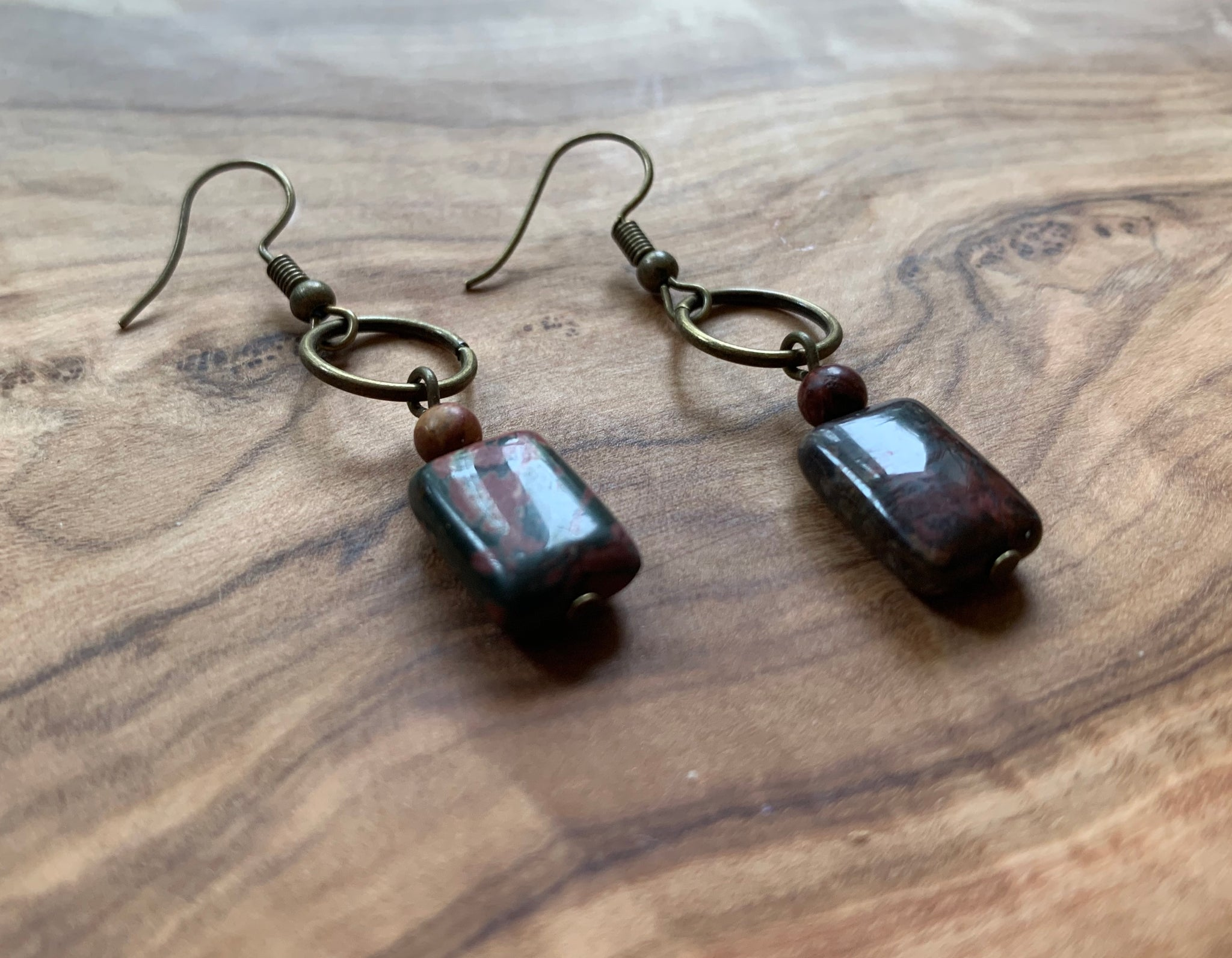 Natural Boho Square Bronze, Jasper Stone Drop Earrings - Egret Jewellery