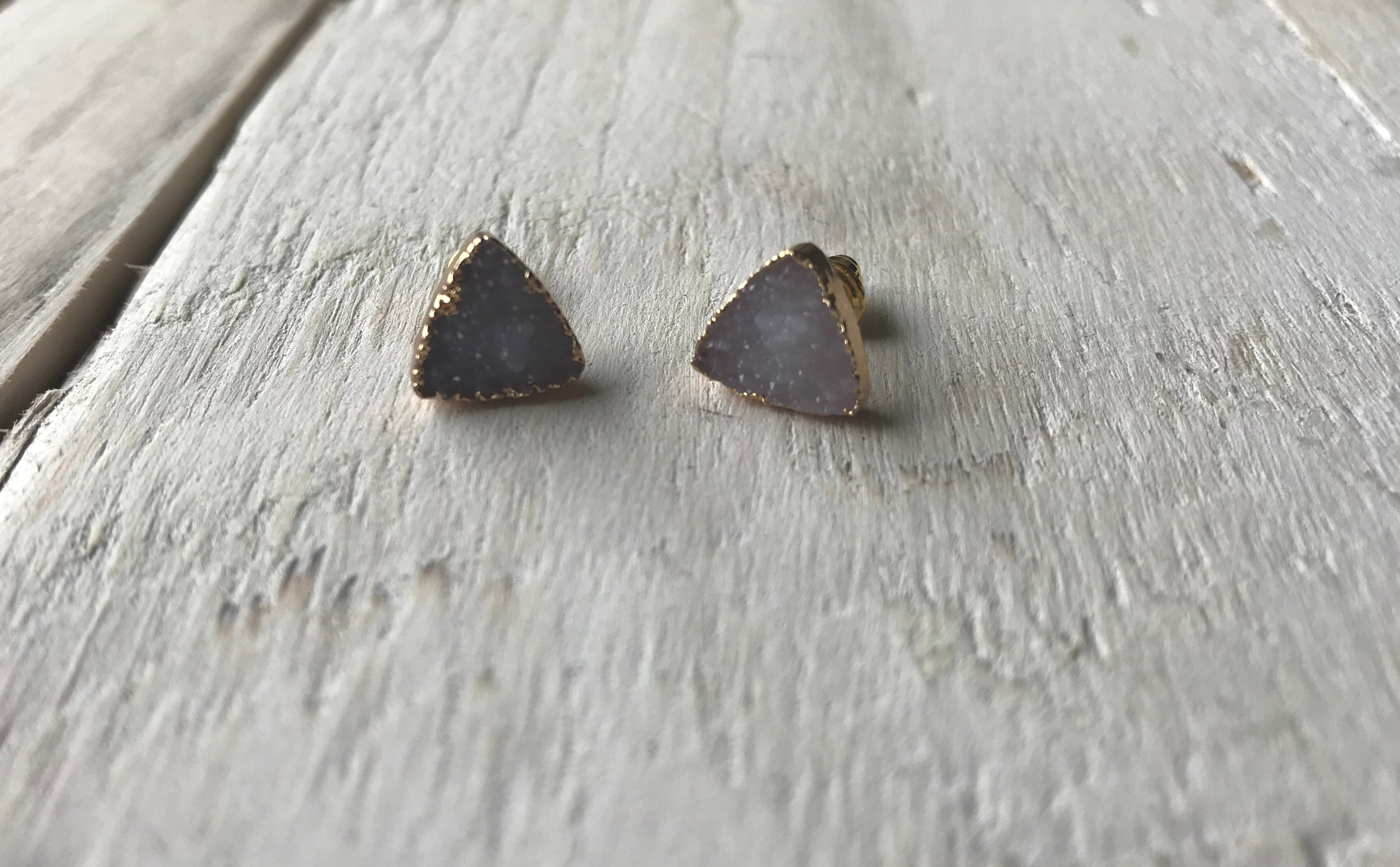 Lilac | Purple Druzy Stone Gold Stud  Triangle Earrings