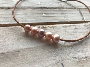 Genuine Freshwater Pink Pearl Choker Beaded Necklace Leather
