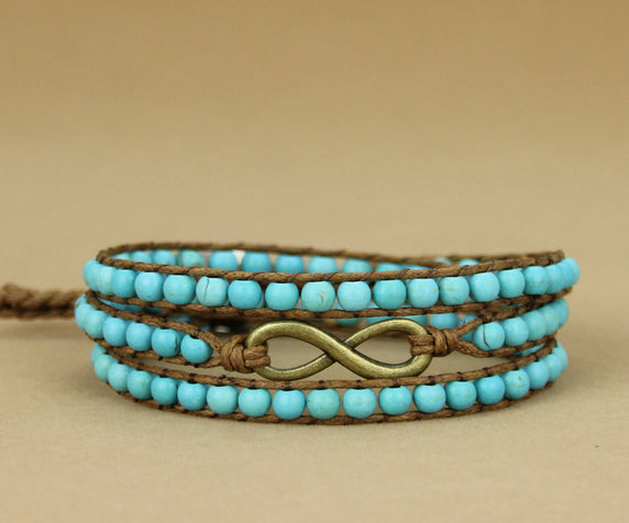Natural Stone Infinity Beaded Turquoise Wrap Bracelet - Egret Jewellery