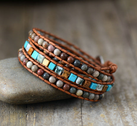 Natural Jasper & Turquoise Beaded Wrap Bracelet Mens | Women's - Egret Jewellery
