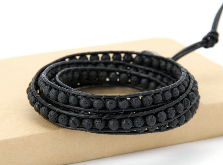 Natural Black Lava Rock Beaded Stone Leather Cuff Bracelet Men's - Egret Jewellery