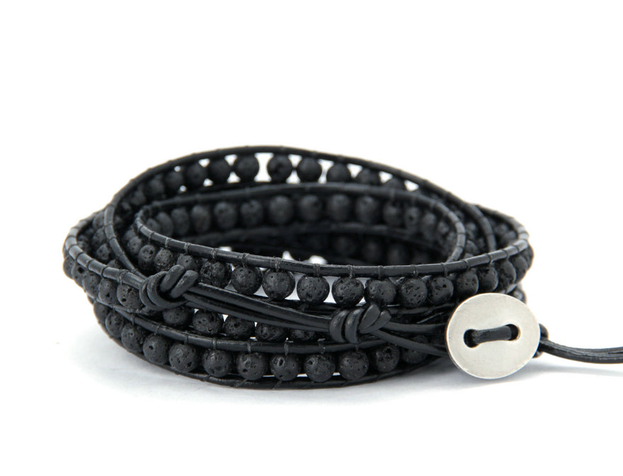 Natural Black Lava Rock Beaded Stone Leather Cuff Bracelet Men's